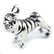 Pug Dog 3D Large Sterling Silver Charms